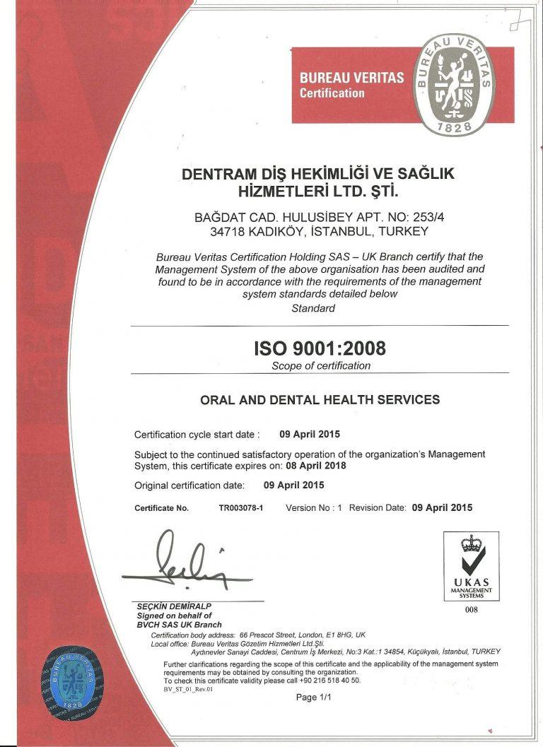 Dentram ISO 9001 Belgesi